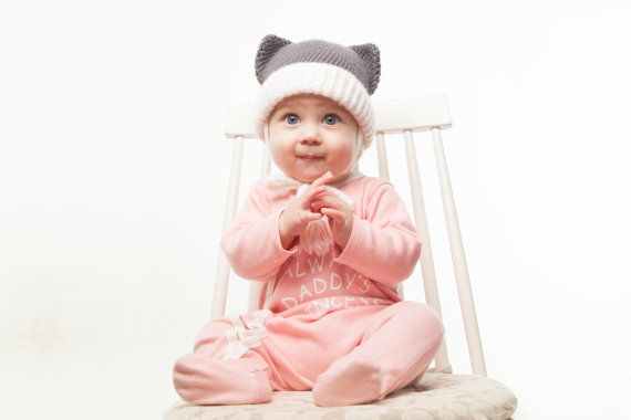 Grey Cat Baby Hat with Ears White Crochet Animal by OneHatStore