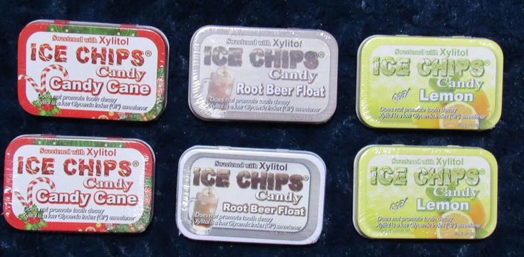 Ice Chips Candy Tins Sweetened with xylitol Lemon Root beer Candy Cane 6 Tins #IceChipsCandy