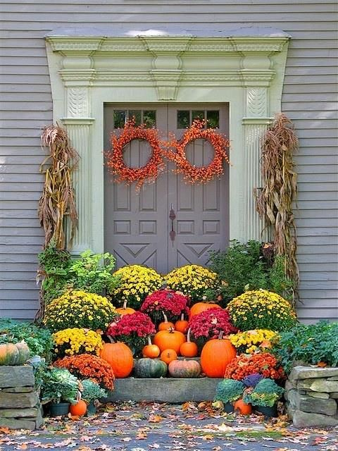 "This pic said ""Create a Welcoming Fall Entryway"". Nobody's gettin in there! Lol!"