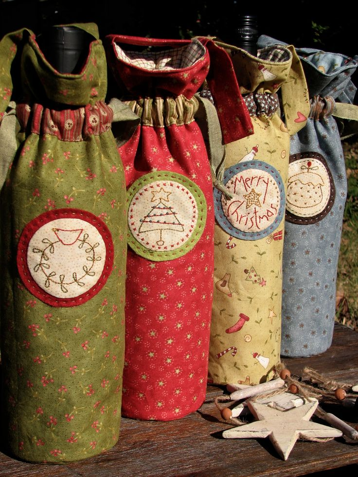 Sew WINE BAGS. I would prefer a different fabric but the IDEA is good.