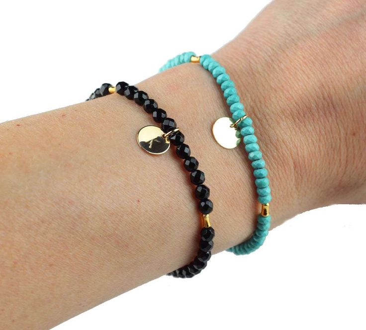 Personalized Disc Bracelet, Custom Disc Bracelet, Woman Gift, Layering Personalized Bracelet, Dainty Gemstone Bracelet Gift, Gift for Her by ILgemstones on Etsy