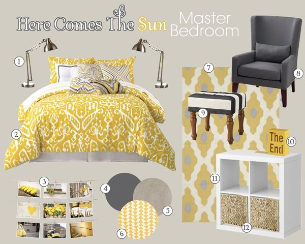 Gray Bedroom Mood : Images about gray yellow bedroom ideas on