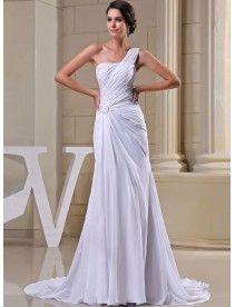 Elegant|Bescheiden Chiffon Asymmetrisch|Ein Schulter Kapelle Schleppe Abendkleider 2014