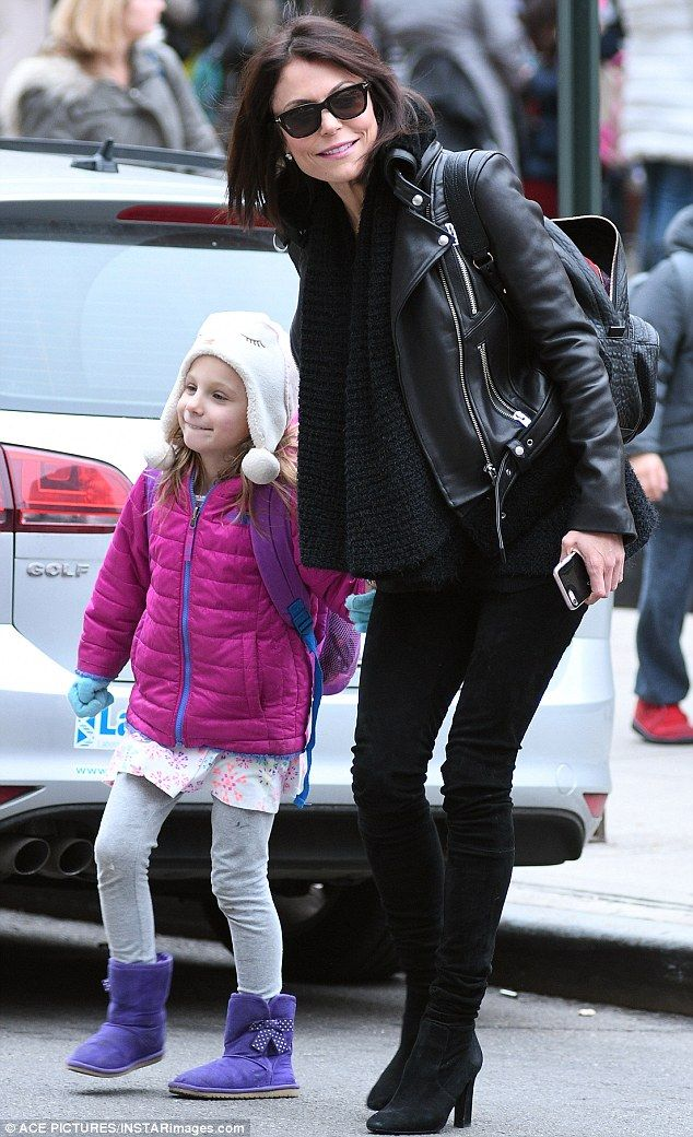 After school special: Bethenny Frankel rocked an edgy black look while picking up her daug...