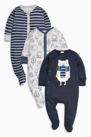 Buy Navy Bear Sleepsuits Three Pack (0mths-2yrs) online today at Next: Greece