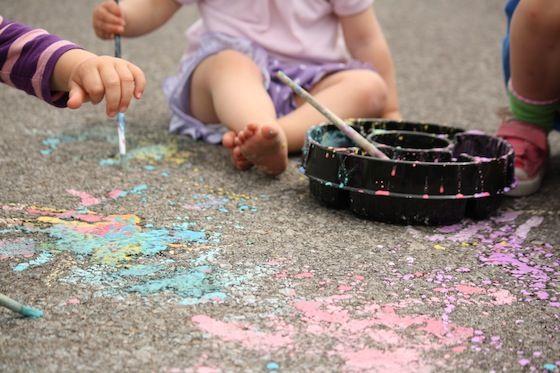 Make sidewalk paint with cornstarch & water - looks fun!