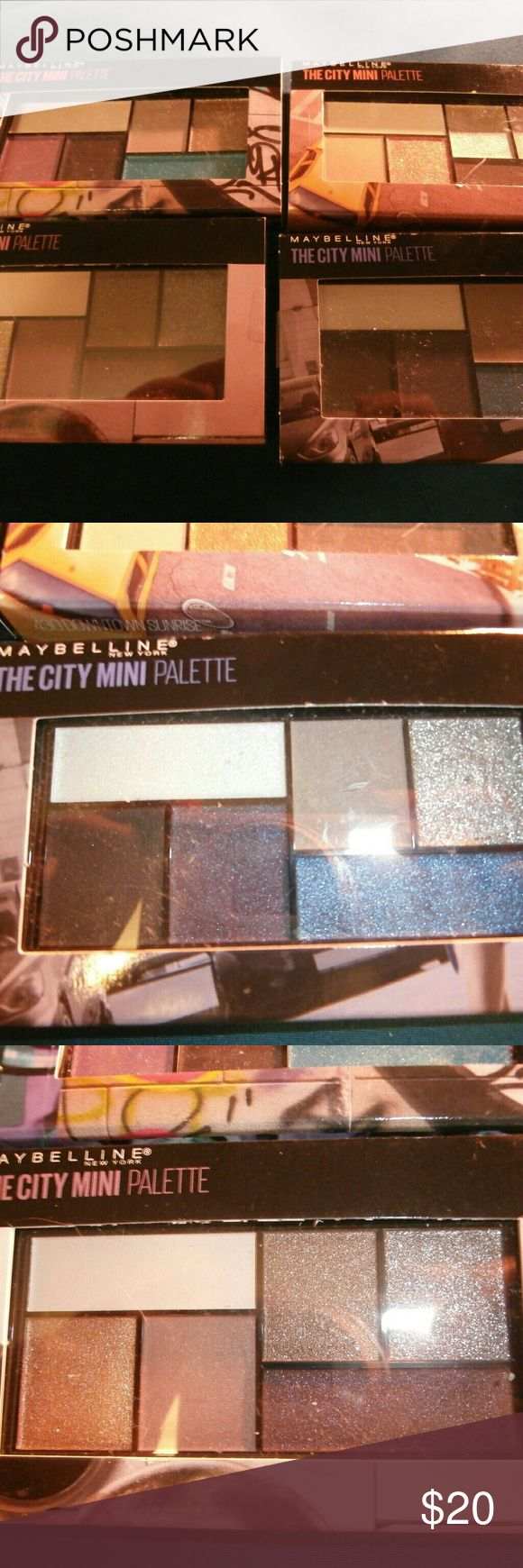 🆕4 Maybelline City Mini Palettes NWT Each palette contains six colors  Half metallic, half matte Each color palette tells a story.     Downtown sunrise (golds, copper, brown)     Chill brunch neutrals (more metallic neutrals)     Graffiti pop! (Teal, fuschia, purple, and neutrals)     Concrete runway (grey, silver, cobalt, black, and white)  All are new and sealed! Lowest price! Thank you. Maybelline Makeup Eyeshadow