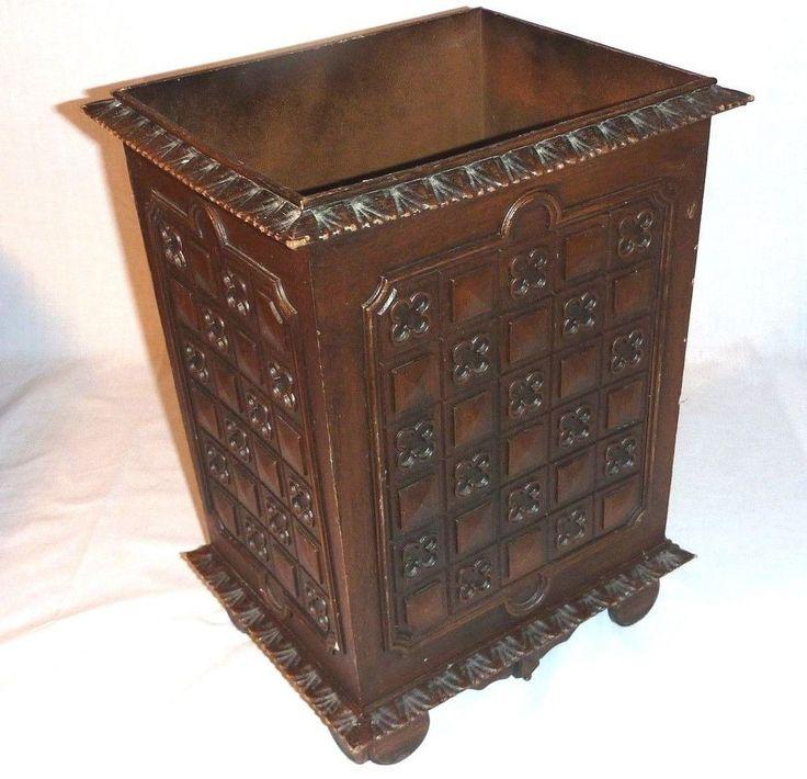 Vintage Mid Century Faux Wood Gothic Mediterranean Waste Basket Trash Can Bin