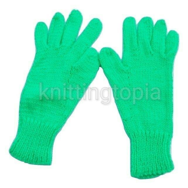 Children's bright green hand knitted gloves £5.00