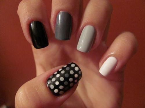 B/WShades, Nails Art, Fingernail Design, Nailsart, Shadow, Polka Dots Nails, Black White, Gradient Nails, Art Nails