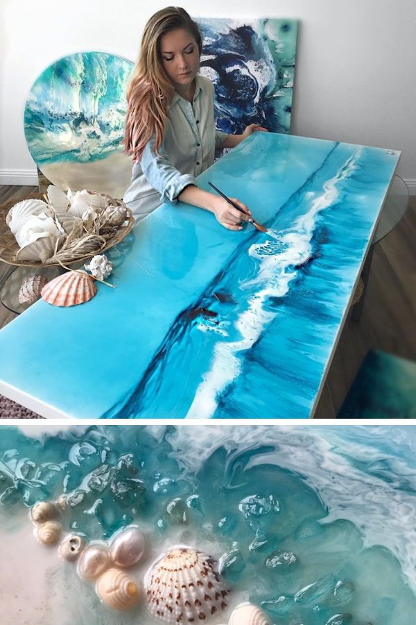 Swirling Resin Art Uses Real Objects to Mimic the Untouched Beauty of the Ocean