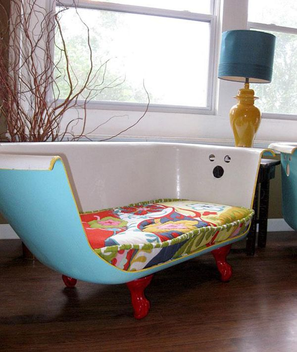 24.) Cut a bath tub in half to make one of the coolest couches ever. I'd add lots of funky pillows, lrg & small. And u ?