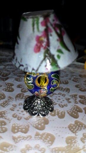 Miniature vintage lamp.  Oriental influence.