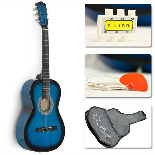 "38"" Blue Student Acoustic Guitar Starter Package, Guitar, Gig Bag, Strap, Pitch Pipe Sky Enterprise USA,http://www.amazon.com/dp/B0049J6FWA/ref=cm_sw_r_pi_dp_zCejtb0F5SE8A8D4"