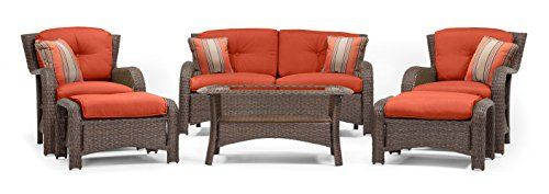 La-Z-Boy Outdoor Sawyer 6 Piece Resin Wicker Patio Furniture Conversation Set (Grenadine Orange) With All Weather Sunbrella Cushions - http://www.balanced4u.net/timeless/la-z-boy-outdoor-sawyer-6-piece-resin-wicker-patio-furniture-conversation-set-grenadine-orange-with-all-weather-sunbrella-cushions/