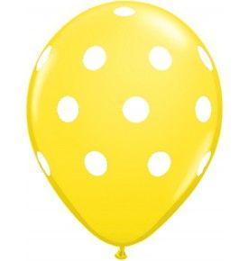 """Polka Dots Latex Balloons (Yellow) - Pack of 5 - 18"""""""