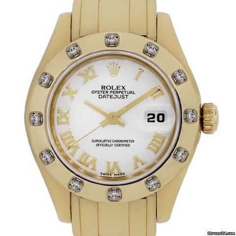 Dial: White dial with yellow gold roman numerals. Date is marked at 3 o' clock with yellow gold hand markers (factory) Bracelet: 18k yellow gold Pearlmaster ...