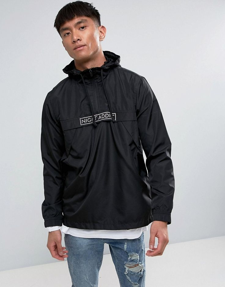 Get this Night Addict's sport jacket now! Click for more details. Worldwide shipping. Night Addict Pullover Windbreaker Jacket - Black: Jacket by Night Addict, Smooth woven fabric, Funnel neck, Drawstring hood, Half zip placket, Over-the-head style, Regular fit - true to size, Machine wash, 100% Polyester, Our model wears a size Medium and is 184cm/6'0.5 tall. (chaqueta deportiva, sports, sport, deporte, esquí, esqui, esquiar, snowboard, deportiva, nieve, cortaviento con capucha…