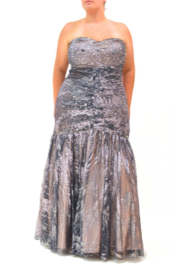 This shimmery sparkling beaded gown has a slight sweetheart neckline, gathers through the bodice for a flattering fit and a dramatic full trumpet style skirt. It has slate tulle and lace over a pale lavender underlayer for an almost antique silver effect. Wear it with silvery shoes and be unforgettable! Great for any black tie event.    Shimmery Curvy-Girl Gown by Kiss Keep It Simply Stylish. Clothing - Dresses - Strapless Clothing - Dresses - Formal Pennsylvania