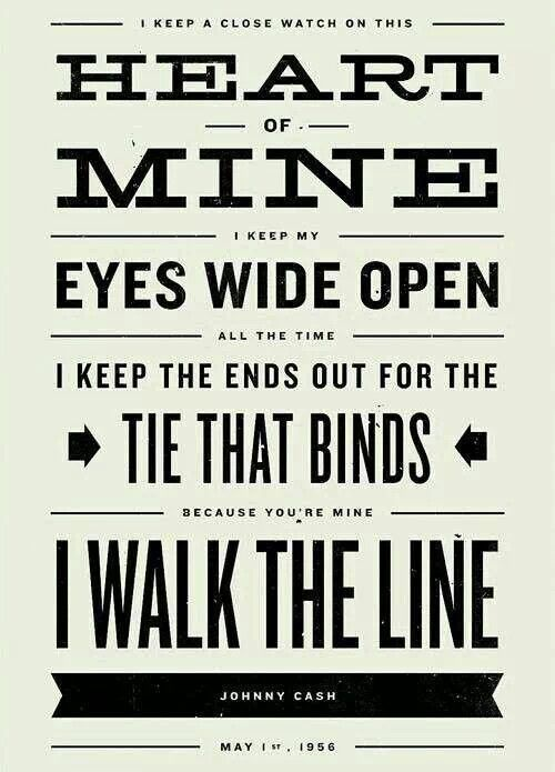 JOHNNY CASH Inspired, Walk The Line Lyric Poster - 11 x17 Typography Art Print…