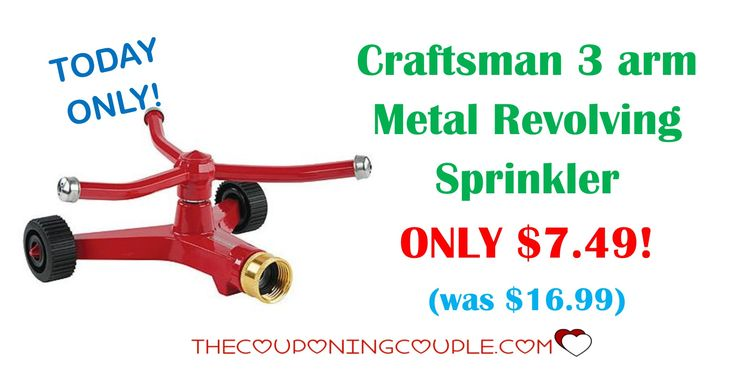 TODAY ONLY! Grab this Craftsman 3 arm Metal Revolving Sprinkler for ONLY $7.49 (was $16.99)! Spring will be here before you know it.  Click the link below to get all of the details ► http://www.thecouponingcouple.com/craftsman-3-arm-metal-revolving-sprinkler/ #Coupons #Couponing #CouponCommunity  Visit us at http://www.thecouponingcouple.com for more great posts!