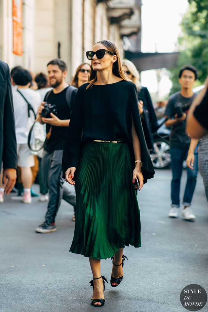Amazing Green fluid long pleated skirt – Olivia Palermo by STYLEDUMONDE Street Style …