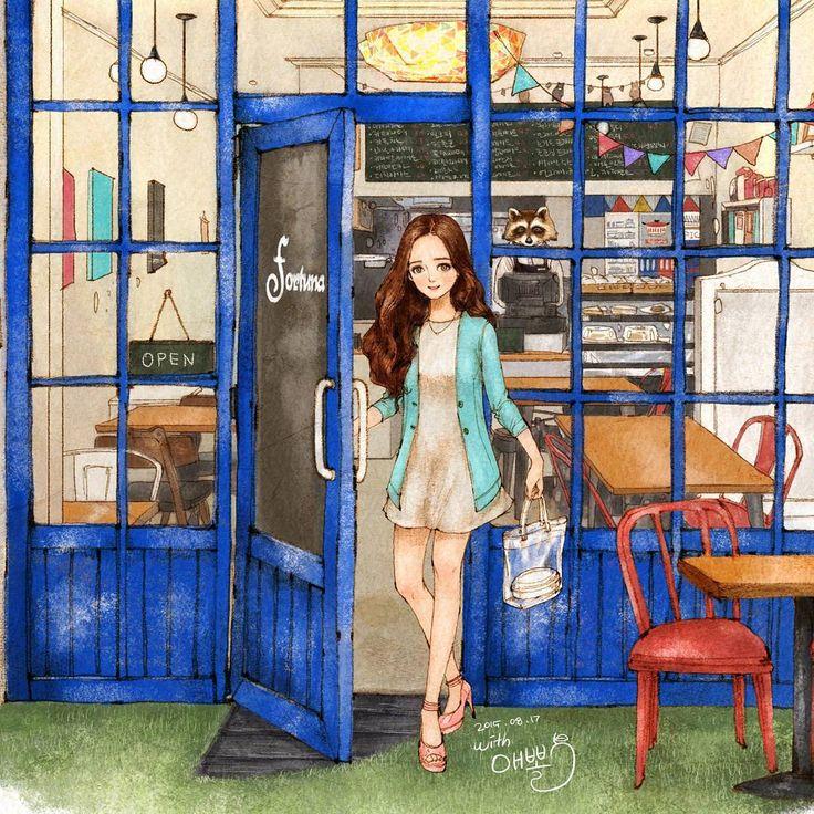 Cafe Fortuna #illust #illustration #drawing #sketch #blue #cafe #cafeinterior #girl #aeppol #fortuna #일러스트 #일러스트레이션 #애뽈 #카페 #카페인테리어 #포르투나