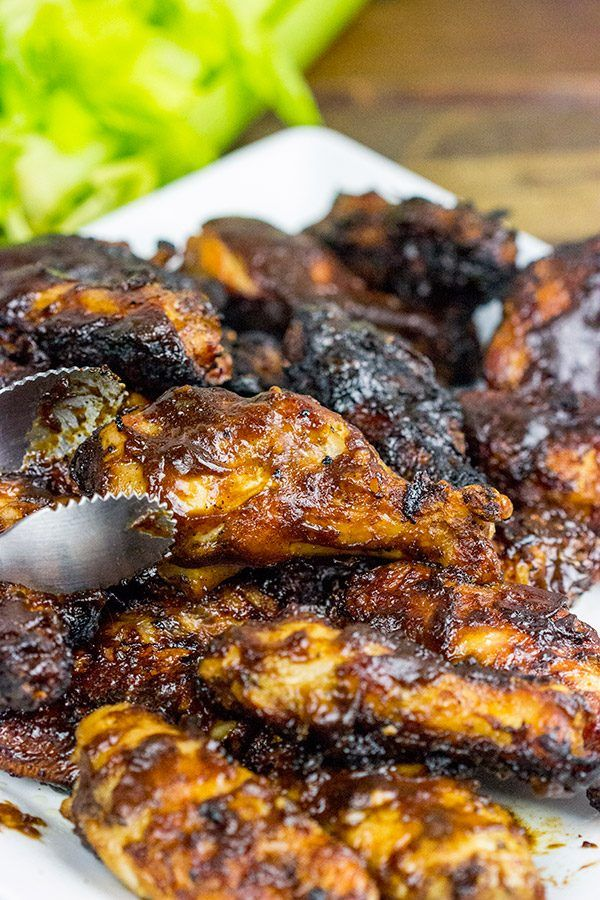 Apple Bourbon BBQ Grilled Chicken Wings - Spiced