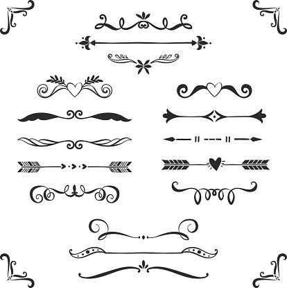 Vintage decorative text dividers collection. vector art illustration