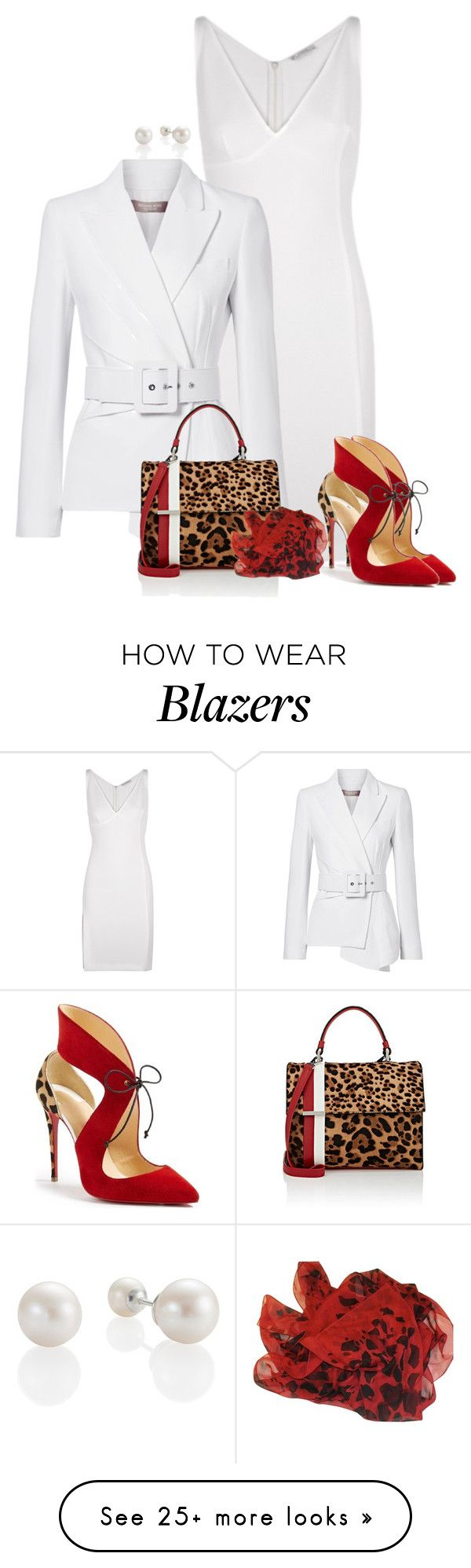 """""""Leopard #3"""" by kimzarad1 on Polyvore featuring Versace, Michael Kors, Tomasini, Christian Louboutin and Burberry"""