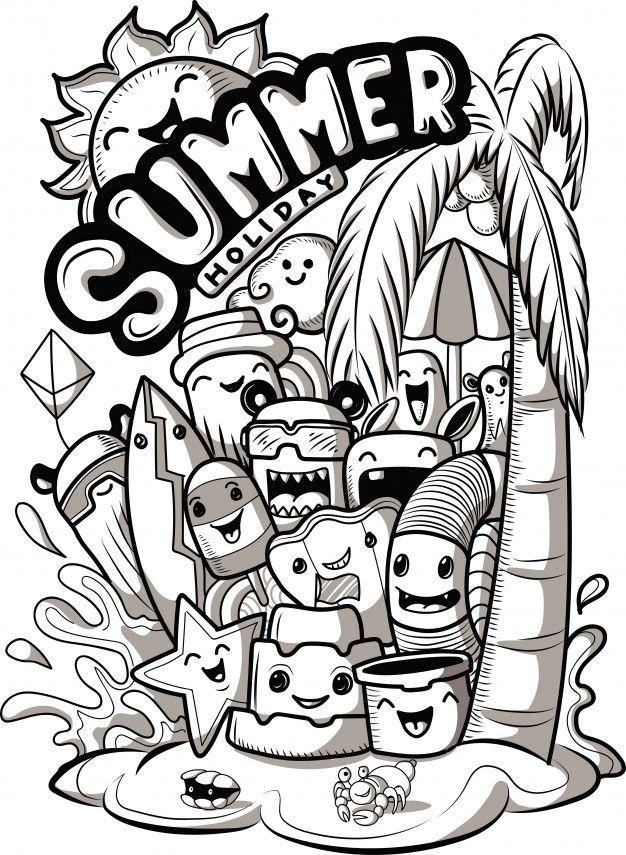 Conjunto De Monstruos Lindos Doodle Con Elementos De