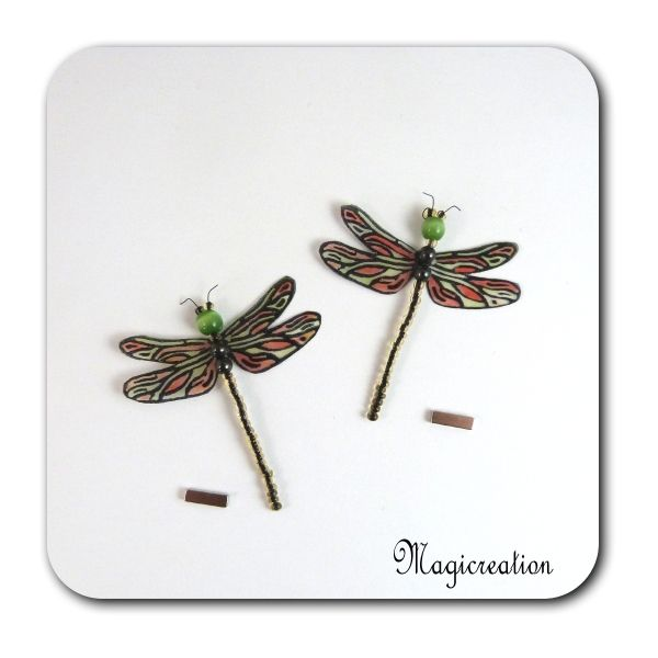 MAGNETS LIBELLULES TRANSPARENTES ROUGE VERT-DEMOISELLE - Boutique www.magicreation.fr