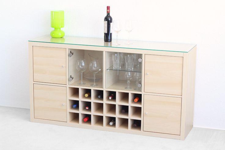 #Ikea #Kallax als kleines Wein-#Sideboard. Gepimpt mit zwei #Flascheneinsätzen…