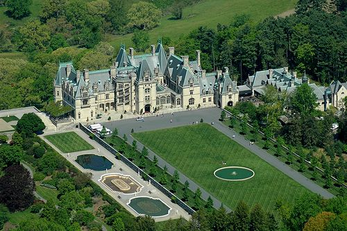 Biltmore Estate | George Washington Vanderbilt residence. Asheville, NC. Built between 1889 and 1895. Designed by Richard Morris Hunt in  Châteauesque-style; 175,000 sq ft, 250-room mansion. Landscape design by Frederick Law Olmsted. Largest privately-owned home in the U.S.