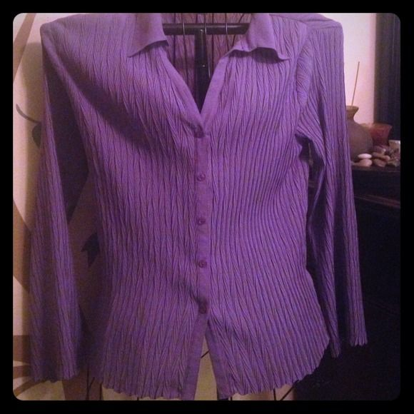Pretty purple dress shirt Button down and love sleeves. Size large.. Runs more like a medium. Perfect for the office. Like new! Nicola Tops