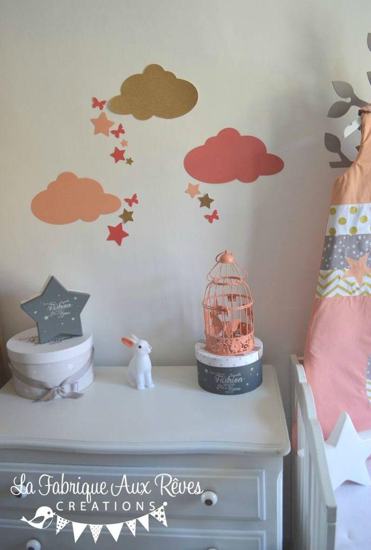 stickers dcoration chambre fille bb nuage toiles papillons pche corail saumon dor