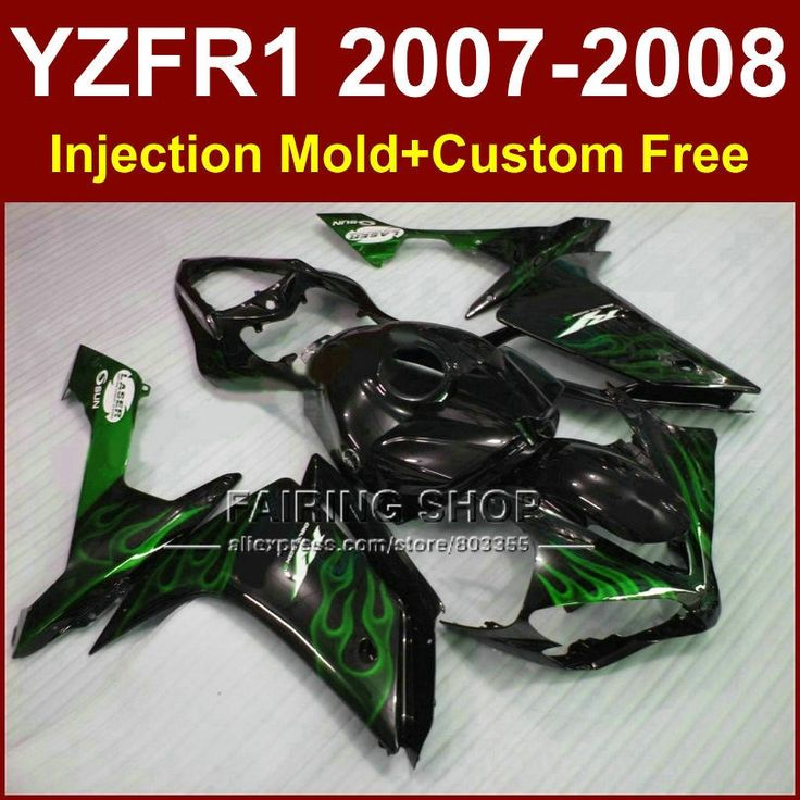 (427.80$)  Watch now  - Green flame in black fairing sets for YAMAHA bodyworks YZFR1 2007 2008 R1 YZF R1 YZF1000 YZF 1000 07 08 fairings kits ET5G