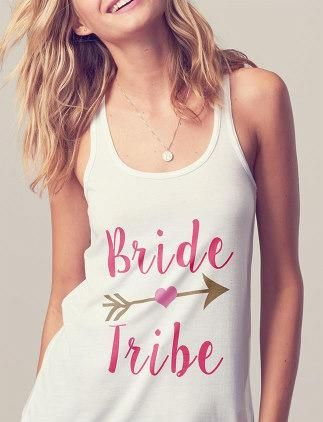 bride tribe tanks for bridesmaids on the hen do! | hen do ideas | wedding inspiraiton | bridesmaids | www.weddingsite.co.uk