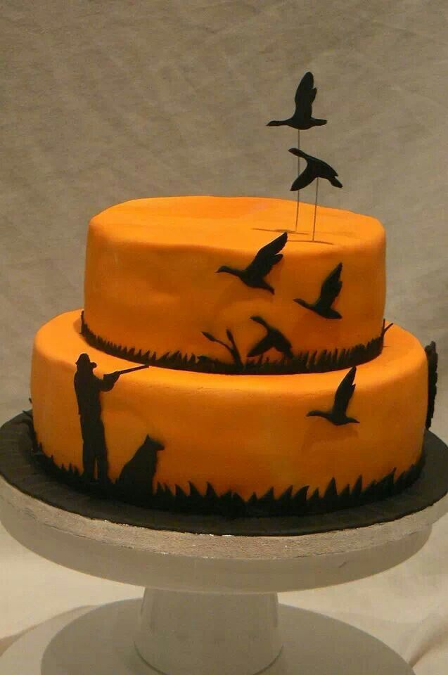 duck hunting cake ideas | Hunting cake. Homemade shooting cake. Silhouette. Flying ducks.