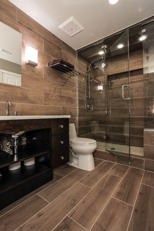 "Contemporary 3/4 Bathroom with Limestone counters, European Cabinets, Kaska porcelain tile amazon wood series rio palm 6x36"""