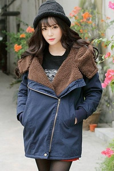 Off-center Zipper Hooded Coat