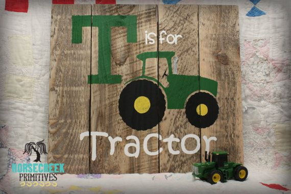 "Green Tractor ""T is for Tractor"" Boys room decor,Girls room decor, handcrafted…                                                                                                                                                                                 More"