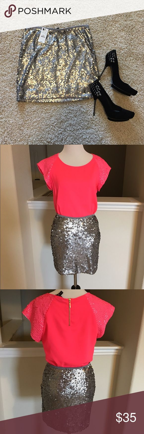 """NWT Express silver sequined skirt. SZ XS. Stretchy NWT Express silver sequined skirt. Has some stretch to it. No zipper just pulls up. In perfect condition. Waist measures 13"""" across laying flat and 15"""" in length. Everything in all the pictures is for sale and I discount with bundles. Ask if you're interested! Comes from a smoke free home. Express Skirts Mini"""