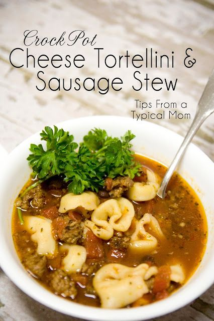 Crockpot Cheese Tortellini and Sausage Stew Recipe from Tips From a Typical Mom.