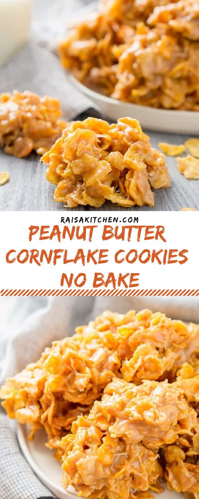 Peanut Butter Cornflake Cookies (no bake