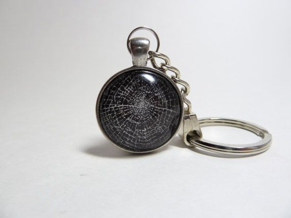 Spider Web Keychain Antique Silver Key Ring