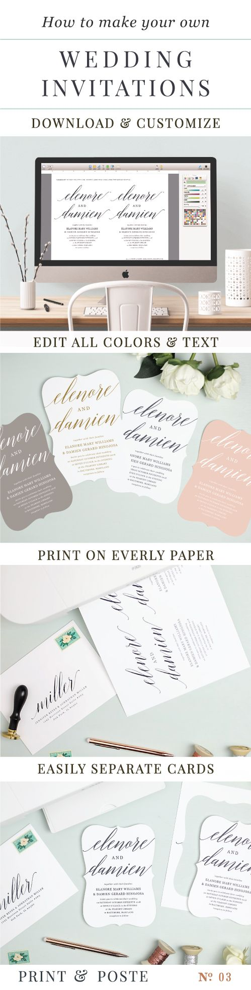 Print Your Own Wedding Invitations With Everly Paper. So Easy To Print And  Separate The