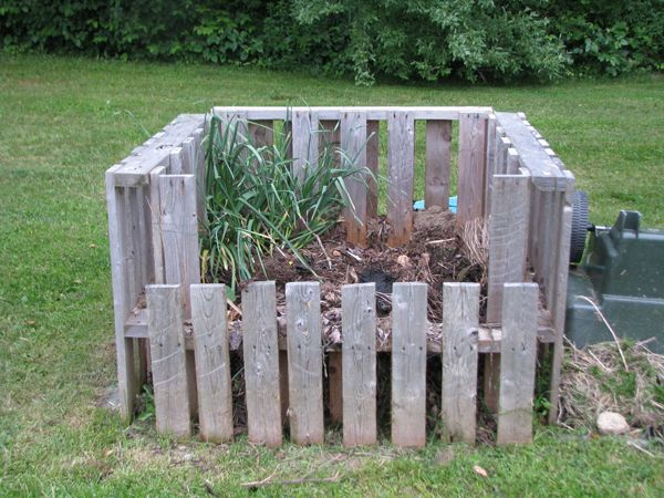 Compost bin using old wooden pallets.