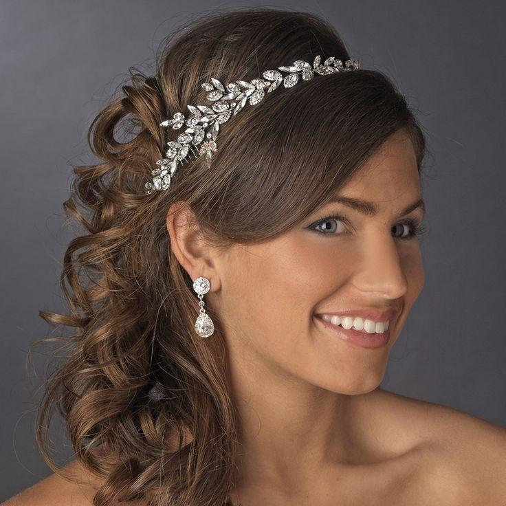 Ornate Antique Silver Crystal Wedding Headband - Affordable Elegance Bridal -