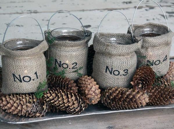Interior design   burlap inside jars with pinecones